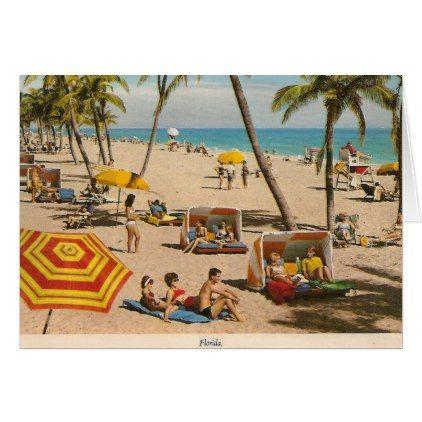 Vintage Retro Florida Beach Travel Card  $2.95  by ZazzleArt2015  - custom gift idea