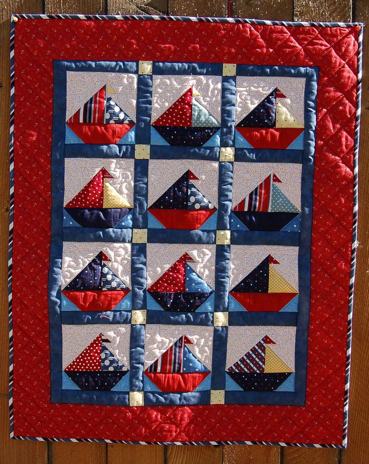 Baby quilt- sailboats  ||by pipersquilts