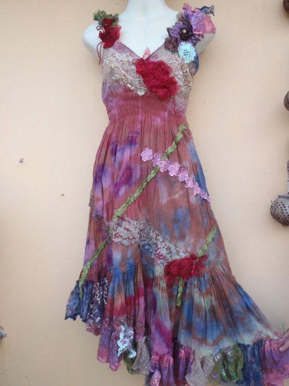 "20%OFF bohemian lagenlook gypsy tie dye cotton boho dress...medium to 42"" bust.."