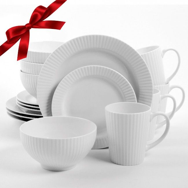 Gibson Home Josephine Café 16 Piece Dinnerware Set, White