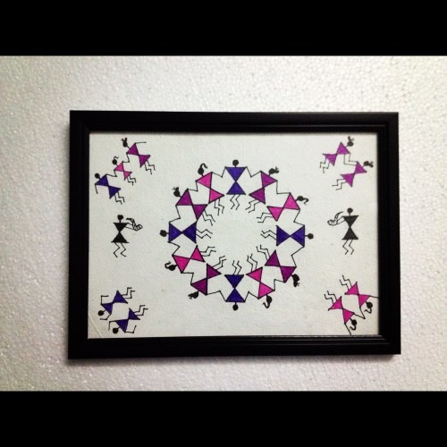 Colourful Warli art matching your walls. This one is meant for Pink / Purple wall. Can be customized as per the wall colour.