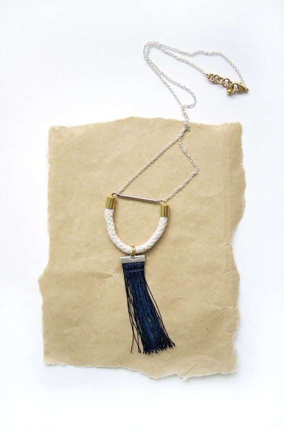 Rope and Fringe Necklace  Boho Tassel Necklace  by HearsayDesigns