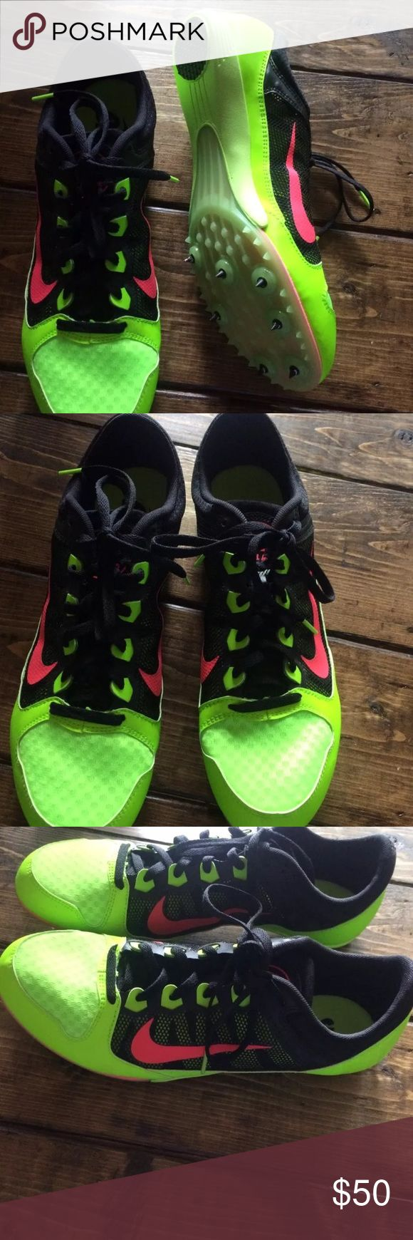 EUC Nike Neon Running Shoes 11 Green Pink Awesome and versatile running shoes with spikes. Size 11 Nike Shoes Athletic Shoes