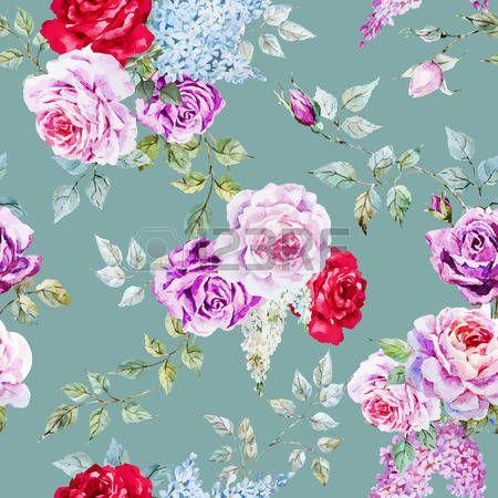 pioenrozen: Prachtige vector patroon met mooie aquarel rozen