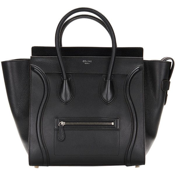 Pre-owned Celine Black Drummed Leather Mini Luggage Tote (17 745 PLN) ❤ liked on Polyvore featuring bags, handbags, tote bags, accessories, handbags and purses, totes, genuine leather purse, black purse, leather purse and mini purse