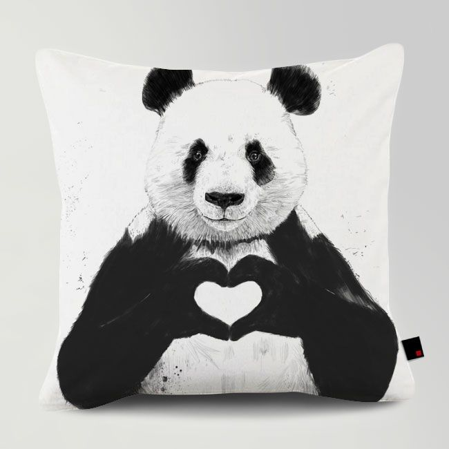 ALL YOU NEED IS LOVE / Designed by Balazs Solti / Made by OneRevolt.com / #쿠션 #원리볼트 #인테리어 #홈데코 #판다 #panda #cute #design #cushion