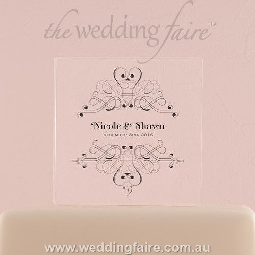 Fanciful Monogram Personalised Clear Acrylic Block Cake Topper - The Wedding Faire