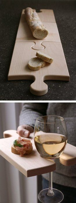 Puzzle piece cutting boards. Really dig these.