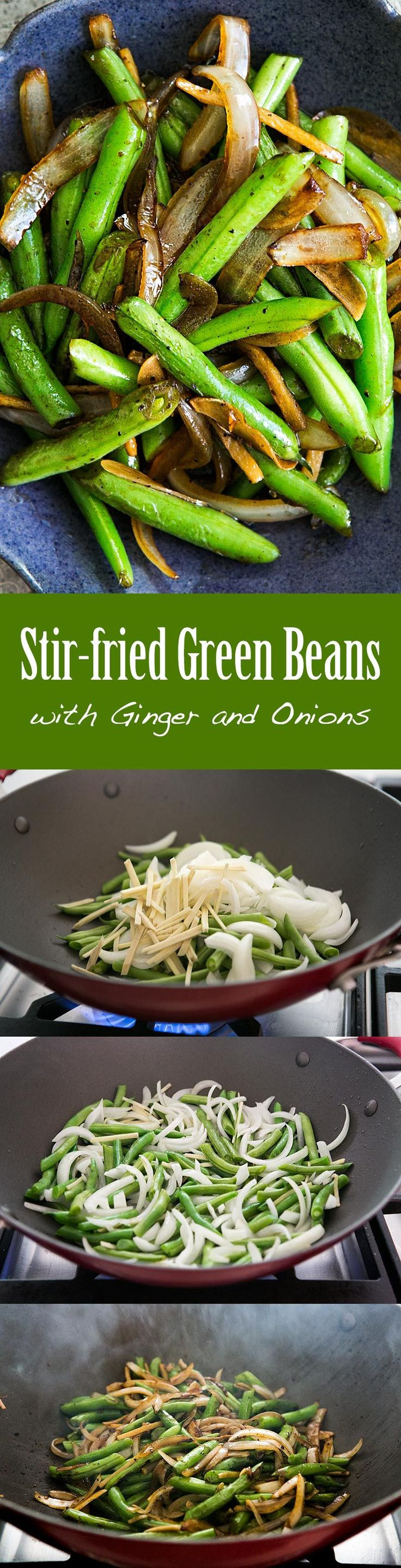 1 pot! Easy! Green beans stir fried with ginger, onions, garlic and a little soy sauce. Cooks up in less than 10 minutes!