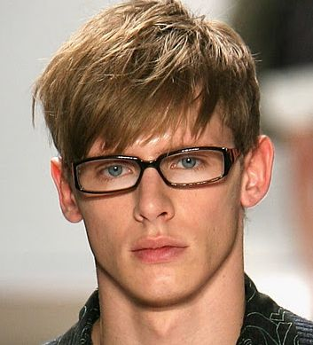 For the boys.   Fashionable men hairstyle with long straight hair and long bangs.