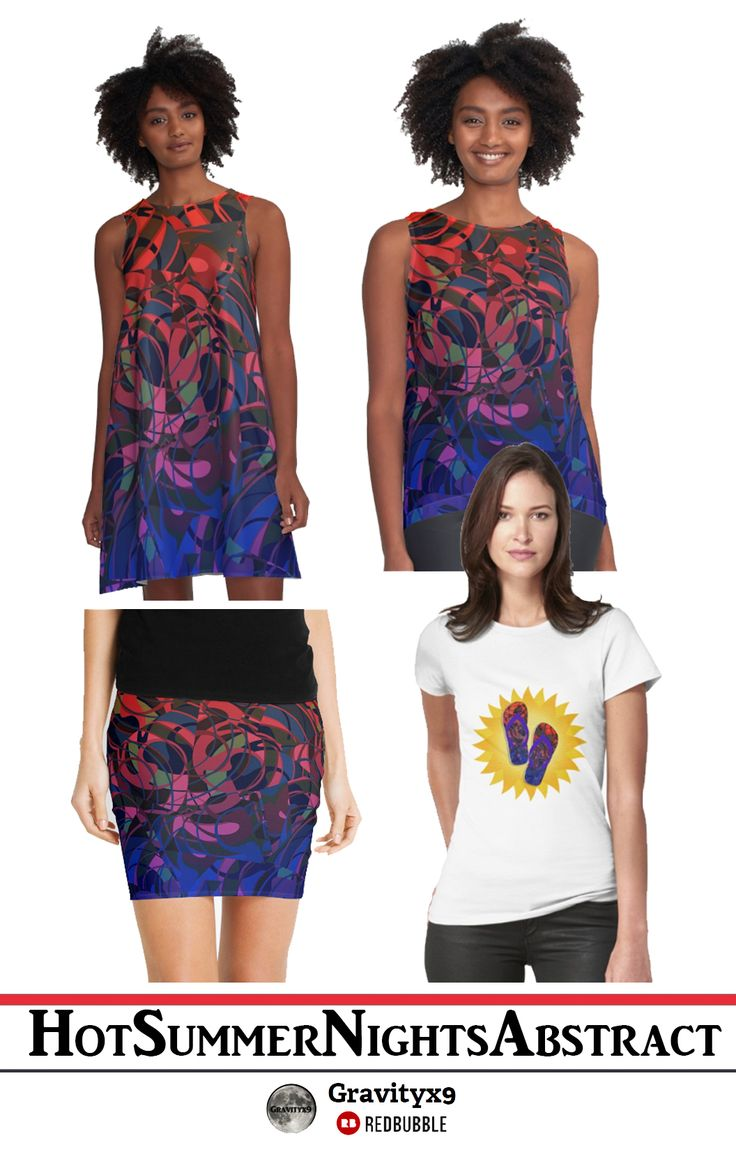 Hot Summer Nights Abstract - Blue and Deep Red Designed on Women's Fashion by Gravityx9 Designs at Redbubble.  Complete your summer wardrobe and accessories with this original abstract design by Gravityx9 Designs. Colorful shades from top to bottom. With shades of Purple, Blue, Deep Red and more to add a splash of color to your life!