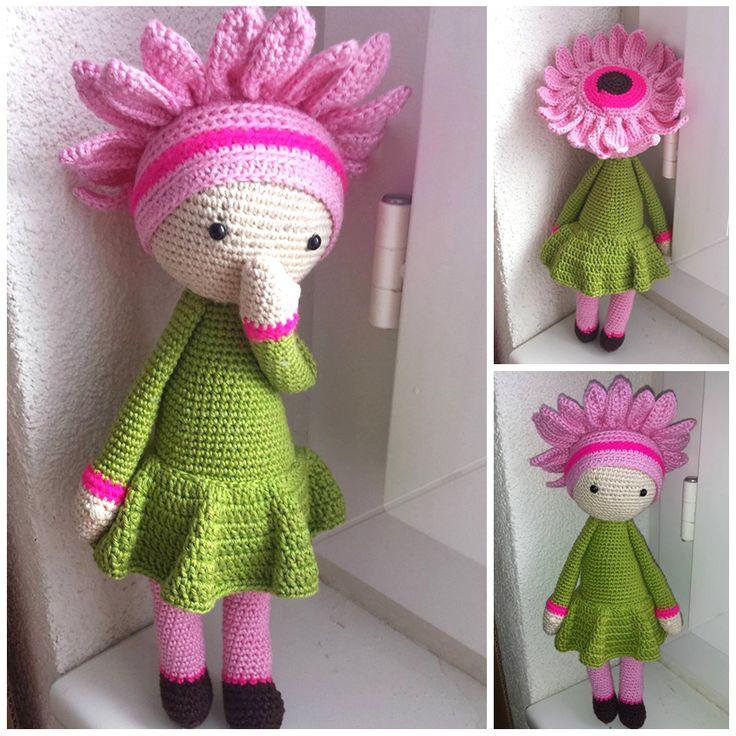 Gerbera Gemma flower doll made by Barbara L - crochet pattern by Zabbez