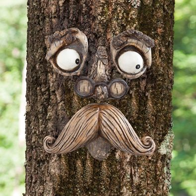 "$19 A delightful surprise on a tree or fence, our funny old man seems to emerge from the bark or wood with watchful eyes. Comes with four pieces, measuring approx. 8"" x 10"" when spaced to your liking. Looks best when the tree is at least 8"" wide. Made of durable polyresin. Includes keyhole on the reverse of each piece to hang on screws or nails, not included. A perfect house warming or garden gift! -"