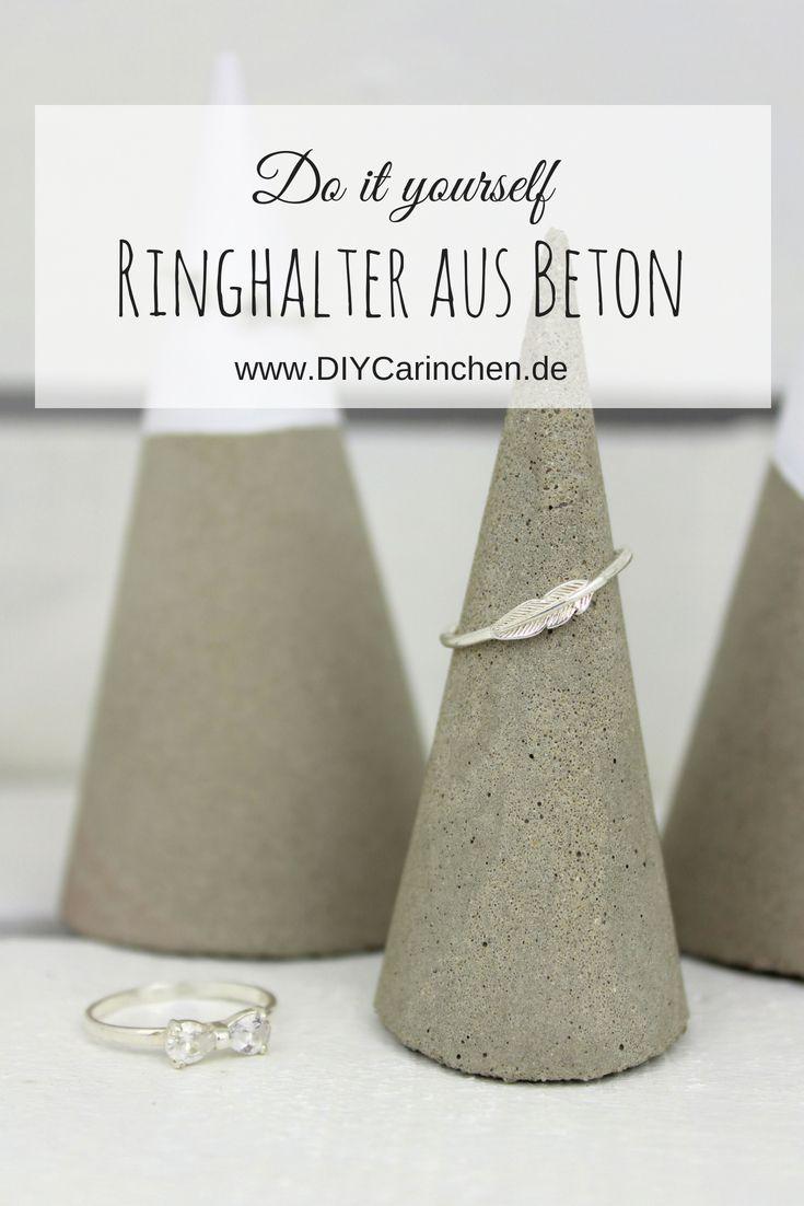Diy Beton Ringhalter Einfach Selbermachen Tolle Schmuckaufbewahrung Mit Bildern Selbermachen Schmuckaufbewahrung Ringhalter