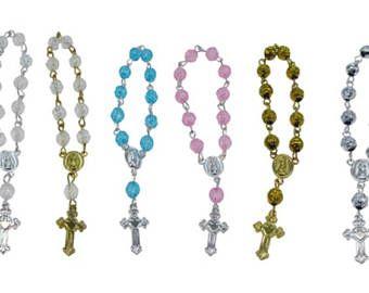 Docena hermosas pulseras rosario de cristal de acrílico. Ideal