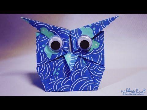 How to fold: Origami Owl by Shoko Aoyagi - YouTube - Em tecido como marcador de livro fica uma graça