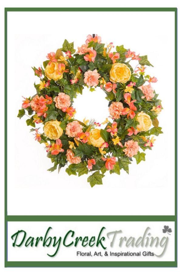 pink carnation rose everyday wreath sw009 spring wreaths rh pinterest com