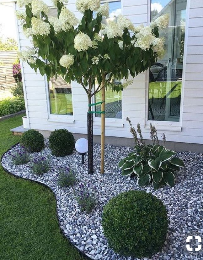 Grey and white mix rock   Front yard landscaping design ...
