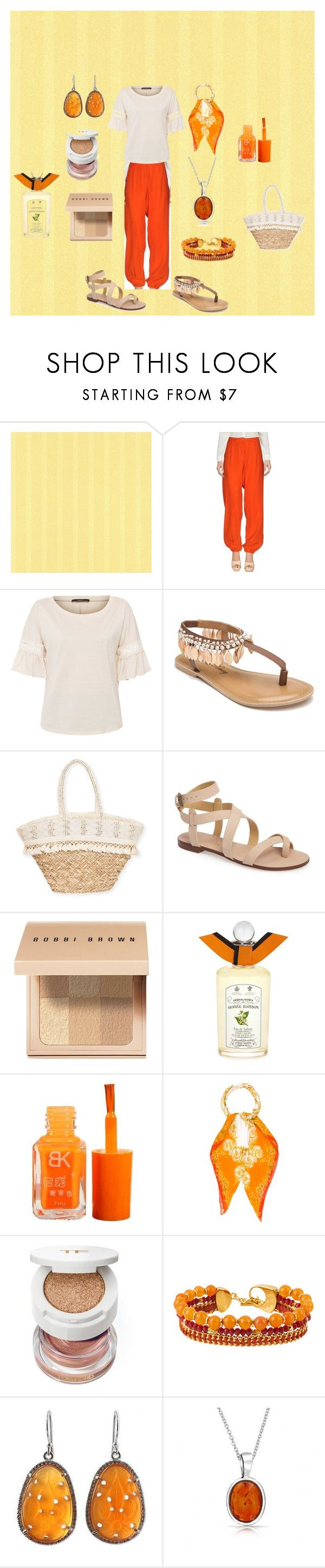 """#5 Orange White"" by cristina-cannizzo on Polyvore featuring P.A.R.O.S.H., Weekend Max Mara, Penny Loves Kenny, Sun N' Sand, Splendid, Bobbi Brown Cosmetics, PENHALIGON'S, Versace, Henri Bendel and NOVICA"