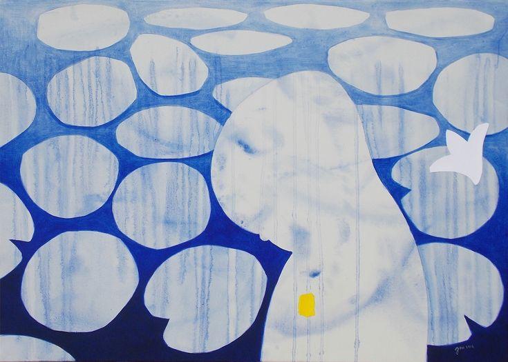 """andrea mattiello """"Ancorerò al cuore i ricordi dell'arcipelago azzurro"""" acrilico e collage su tela cm 70x50; 2016   #andreamattiello #waterflower #waterlilies #ninfea #collage #contemporaryart #lucca"""