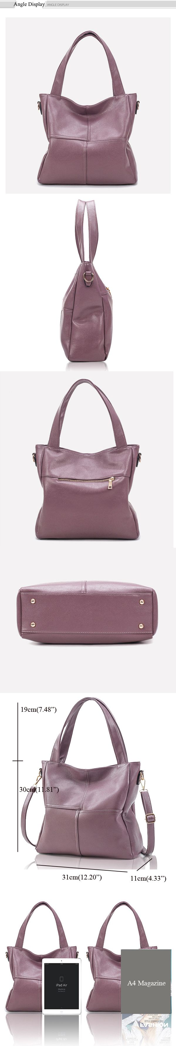 Women Genuine Leather Cowhide Hangbag Casual Cowhide Shoulder Bag