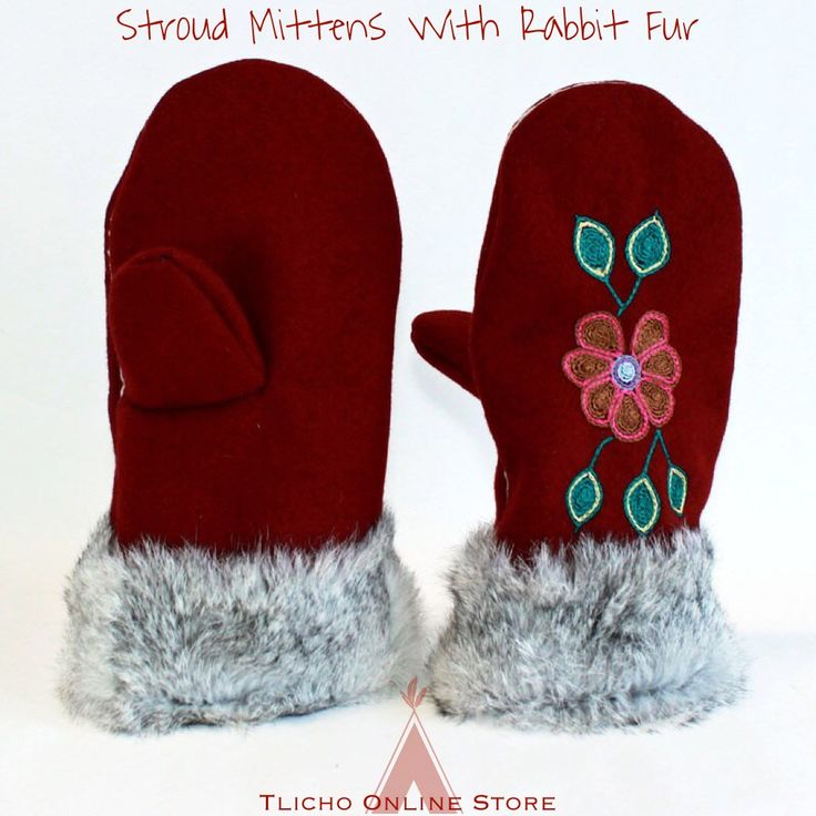 Stroud Mittens With Rabbit Fur by Joey Bishop from #Whatì on http://onlinestore.tlicho.ca     #Tlichomade