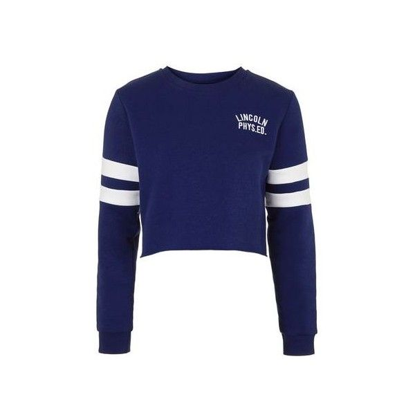 TopShop Lincoln Cropped Sweatshirt ($37) ❤ liked on Polyvore featuring tops, hoodies, sweatshirts, cobalt, striped crop top, embroidered crop top, sport sweatshirts, cotton crop top and embroidered sweatshirts