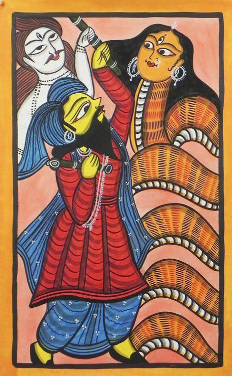 Chand Saudagar (Devotee of Shiva) Fights Snake Goddess Manasa - Bengal Folk Art or Kalighat Painting $46.00 only