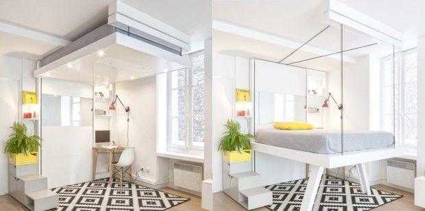 Atelier d'invention et de fabrication de mobilier, Décadrages propose des meubles pratiques pour la maison et pour l'école. L'atelier est à l'origine de BedUp, qui comme son nom le laisse deviner, est un lit à plateau mobile et escamotable au plafond.  Cette mezzanine escamotable manuellement permet de ranger facilement son lit au plafond et de gagner ainsi plusieurs m2. Ce système permet de disposer d'un espace de couchage et d'un espace de vie aménageable à volonté...