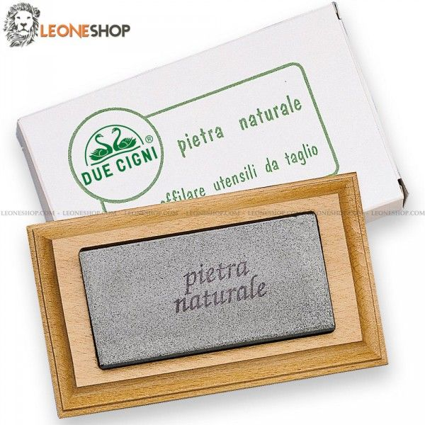 """Professional Knives Sharpening Stone DUE CIGNI Italy, sharpening stones with wooden base and natural fine grain that allows you always to be able to sharpen at best your Knife or any other cutting tool, In fact this natural fine grain is used to finish the sharpening of your blade - Dimensions 5.51"""" x 3.15"""" x 0.79"""" - Knives Sharpening Stones DUE CIGNI Italy."""