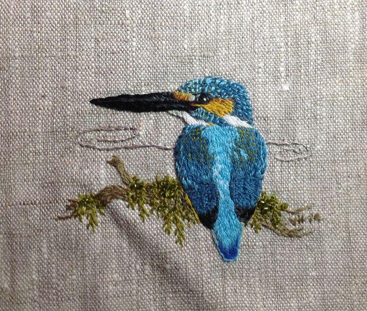 Kuningaskalastaja - Kingfisher. Designed and embroidered by Ville Heimala.