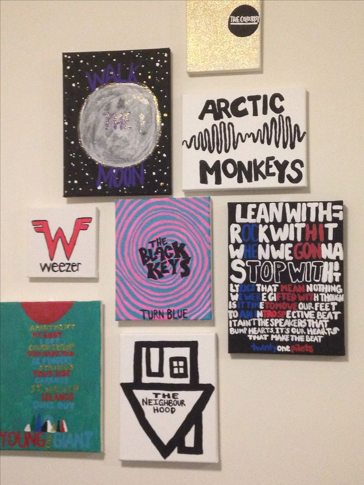 Canvases I painted for my dorm based on bands I listen to- Walk The Moon, The…