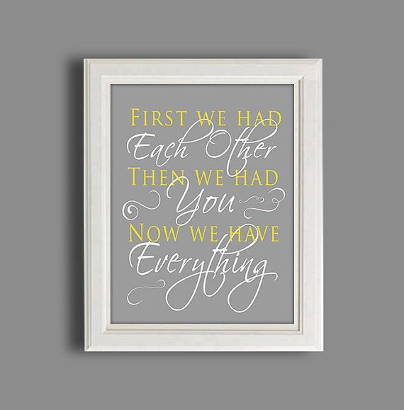 "Nursery Art Print - Gray And Yellow Nursery Decor - 11X14"" Nursery Picture on Etsy, £13.24"