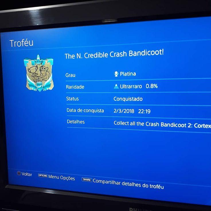 Crash 2 - Troféu Platina #crash #crashbandicoot #game #games #gamer #gamers #geek #geeks #geekgirl #geekboy #platinado #ps4 #ps3 #ps2 #ps1 #playstation #playstation4
