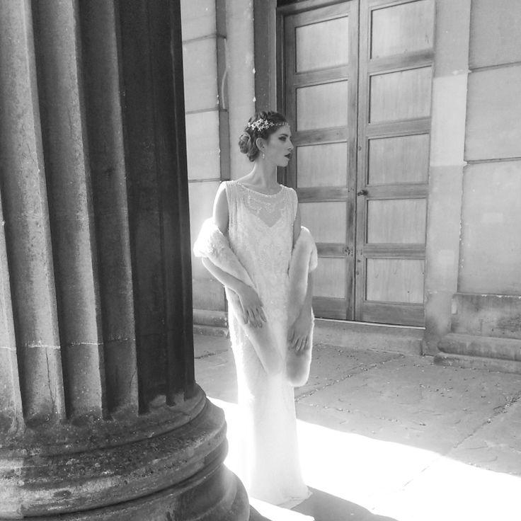 Jenny Packham Esme. Fur by Blanche in the Brambles - Valentina Scarf. Headdress Hermione Harbutt Fiori.