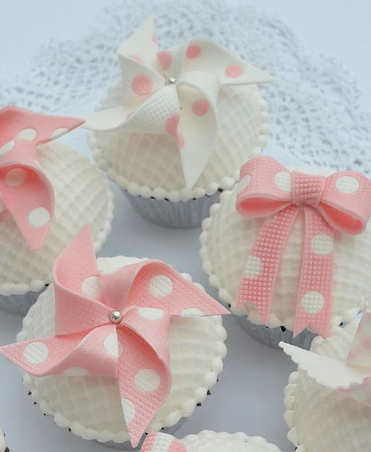 Pink and White Polka Dot Windmills and Bow Cupcakes