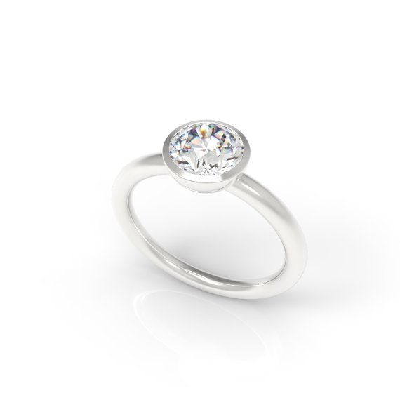 Solitaire Engagement Ring with Bezel Set 1 Carat by TylerPesek