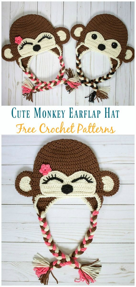 Monkey Hat Free Crochet Patterns | Gorros de lana | Pinterest ...