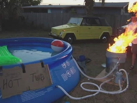 Heating the hot tub