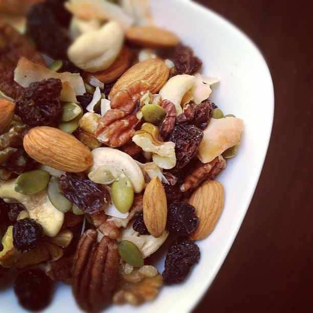 Raw Paleo Trail Mix  Ingredients  raw organic cashews, almonds, walnut pieces or halves , pecans. pumpkin seeds, raw organic cacao nibs, organic dried blueberries, unsulphured cherries, raisins, unsweetened coconut chips (aka ribbons) or dried pineapple