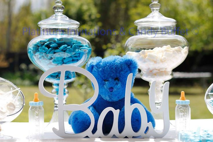 A Gorgeous Baby Boy Candy Buffet All Styling By: Platinum Invitations & Candy Buffets
