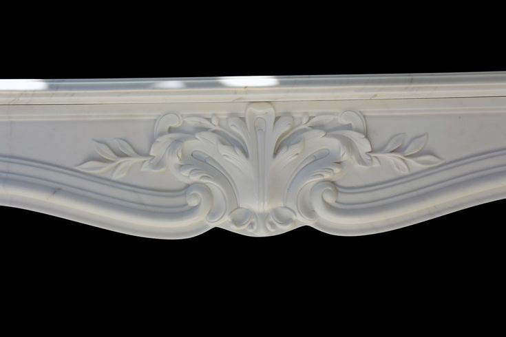Hand Carved Simple & Elegant White Marble Fireplace Mantel #8526