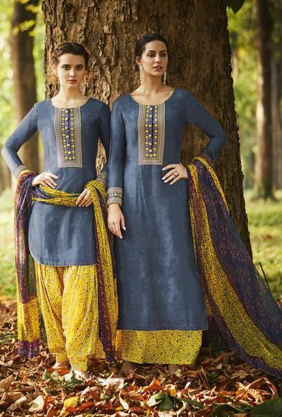 Grey And Yellow Designer Punjabi  Suit
