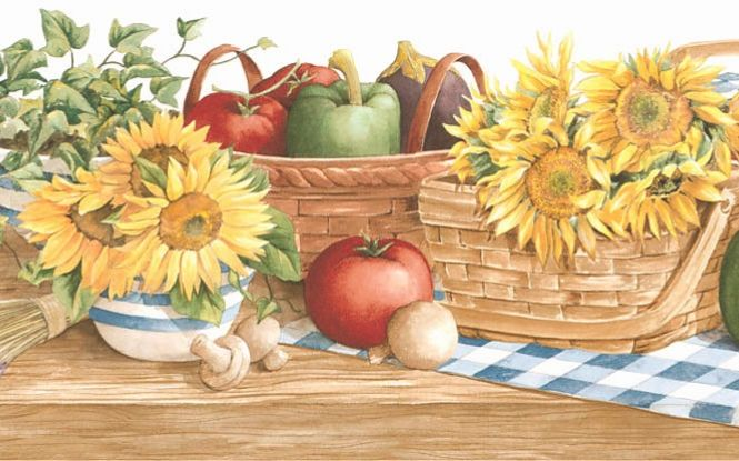 Wide Wallpaper Borders Country | Country sunflower vegetable kitchen wallpaper border 131b35410