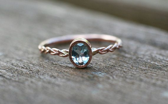Aquamarine engagement ring in 14k rose gold, Natural Gemstone Engagement Ring, Engagement Ring for her, Anniversary gift for her