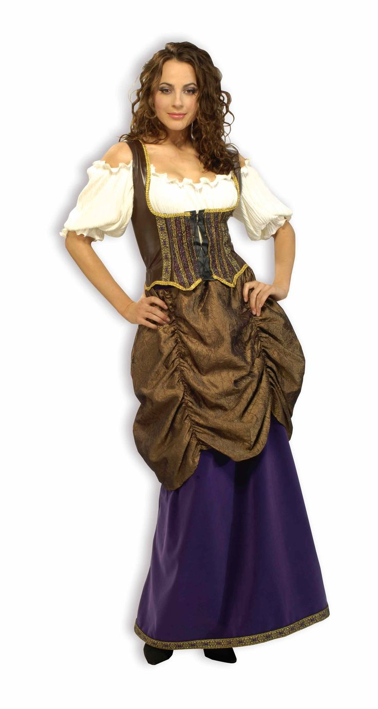Gypsy Pirate Wench Halloween Costume - This gorgeous 3 piece velvet, taffeta and faux leather deluxe Pirate Wench costume is the costume you've been looking for. Sure not to disappoint this Halloween. An awesome costume idea for a pirate or gypsy themed Halloween party. The Pirate Wench costume includes a floor length purple velvet skirt with gold and purple trim along the bottom hem and a layer of bronze colored taffeta material attached to the waist and draping until mid thigh length.