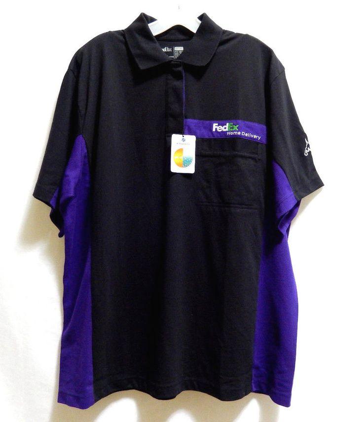 New fedex by stan herman polo shirt logo upf 50 xl uniform for Purple polo uniform shirts
