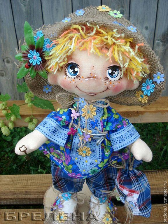 Купить Текстильная кукла Домовой Вася-Василёк. - синий, интерьерная кукла, текстильная кукла