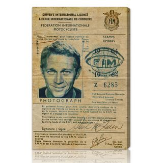The Oliver Gal Artist Co. 'Steve McQueen's Driver License' Fine Art Canvas
