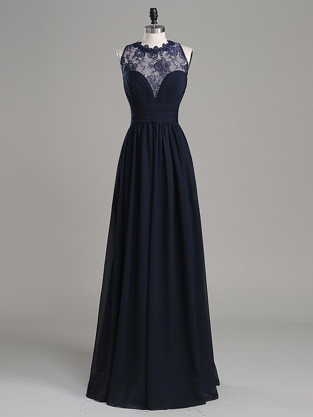 kleid lang dunkelblau spitze